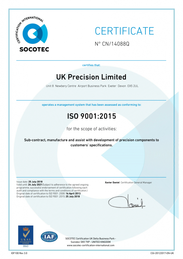 CERTIFICATE – UK Precision Ltd QMS July 2018-1